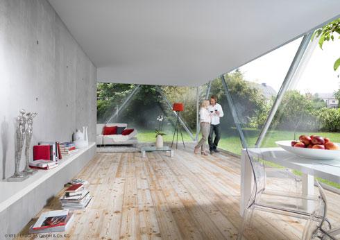 Große Fenster und Türen mit Wärmedämmglas erreichen sehr gute Dämmwerte